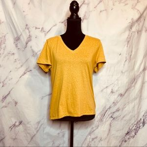 Nordstrom BP Mustard Cotton Blend V Neck Shirt
